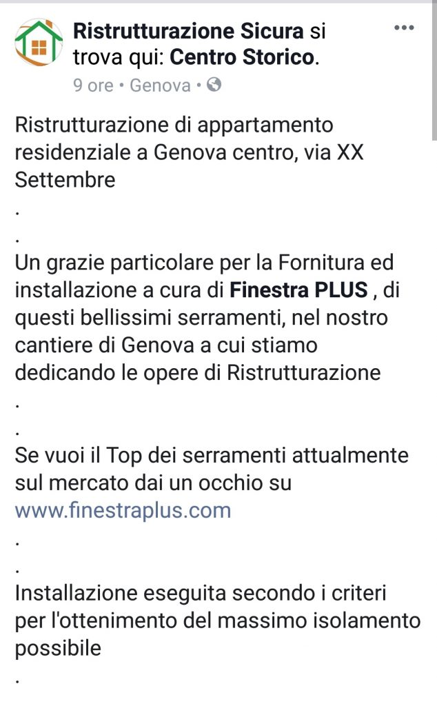 testimonianza finestra plus